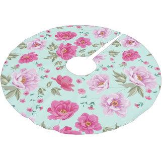 Serene Vintage Turquoise Pink Floral prairies Brushed Polyester Tree Skirt