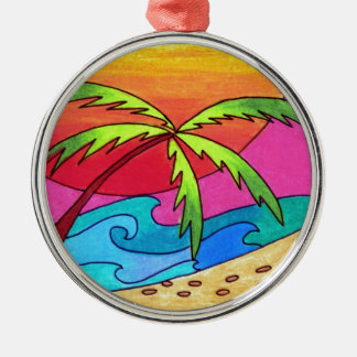 Serene Walk on the beach Silver-Colored Round Decoration