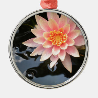 Serene Water Lilly Silver-Colored Round Decoration