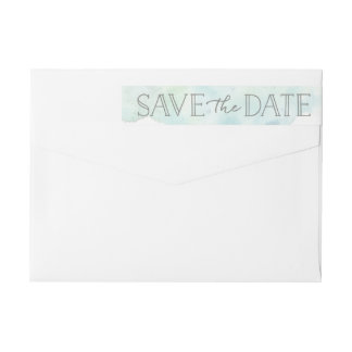 Serene Watercolor Save The Date Wraparound Label Wraparound Return Address Label