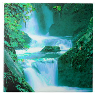 Serene Waterfall in Blue and Green Ceramic Tile