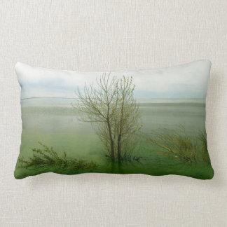 Serene Waterscape Landscape Lumbar Pillow
