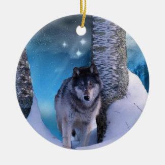 Serene wolf Ornament