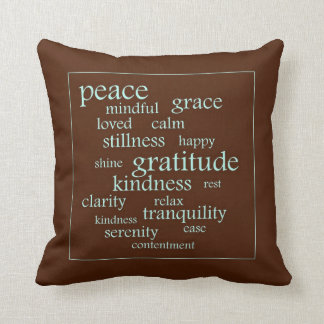 Serenity and Peace Words Throw Pillow