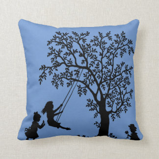 Serenity blue Abstract Tree kids playing pillow Throw Cushions