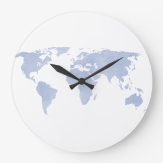 Serenity Blue World map wall clock