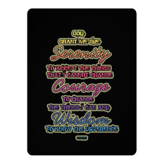 Serenity Courage Wisdom Colorful Text on Black Card