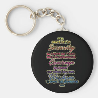 Serenity Courage Wisdom Colorful Text on Black Key Ring
