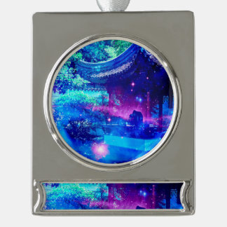 Serenity Garden Silver Plated Banner Ornament