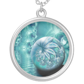"""Serenity II"" custom fractal art Silver Plated Necklace"