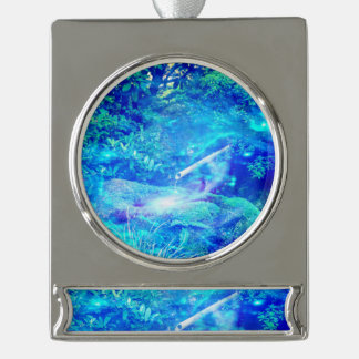 Serenity in the Garden Silver Plated Banner Ornament