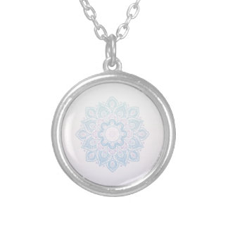 Serenity mandala silver plated necklace