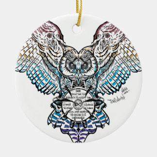 Serenity Owl Ceramic Ornament