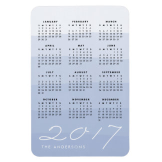 Serenity   Personalized Watercolor 2017 Calendar Magnet