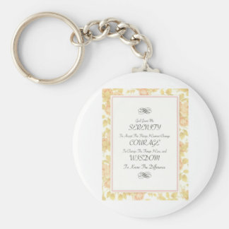 Serenity Poem with Rose Border Key Ring