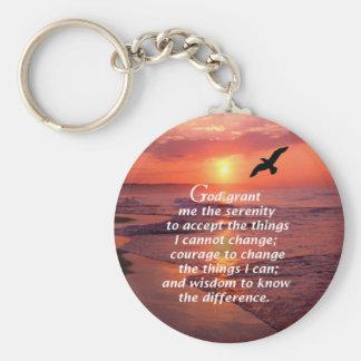 Serenity Prayer 3 Basic Round Button Key Ring