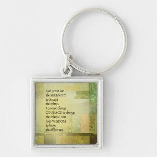 Serenity Prayer Abstract Landscape Green Key Ring
