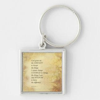 Serenity Prayer Abstract Sunflower Key Ring