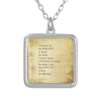 Serenity Prayer Abstract Sunflower Silver Plated Necklace
