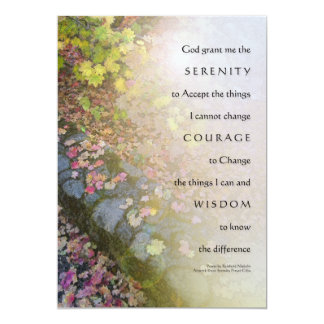 Serenity Prayer Autumn Leaves and Stone Wall Invit Card