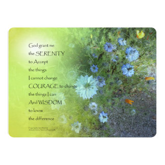 Serenity Prayer Bachelor's Buttons Card