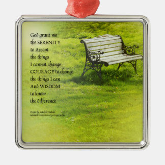 Serenity Prayer Bench Silver-Colored Square Decoration