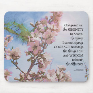 Serenity Prayer Blossoms Sky Tree Mouse Pad