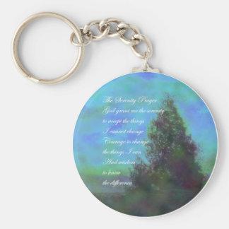 Serenity Prayer Blue Clouds Keychain