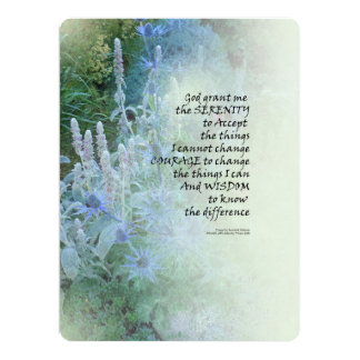 Serenity Prayer Blue Cone Flowers Card