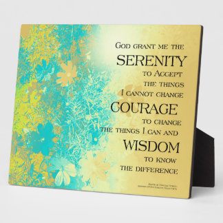 Serenity Prayer Blue Gold Flowers Plaque