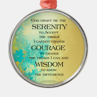 Serenity Prayer Blue Gold Flowers Silver-Colored Round Decoration