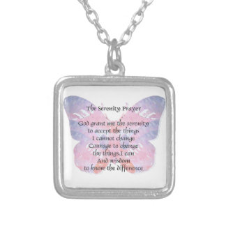 Serenity Prayer Butterfly 2 Silver Plated Necklace