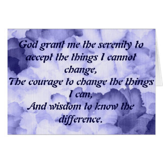 Serenity Prayer Card for AA NA recovery