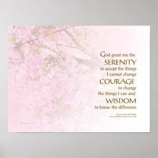 Serenity Prayer Cherry Blossoms Poster