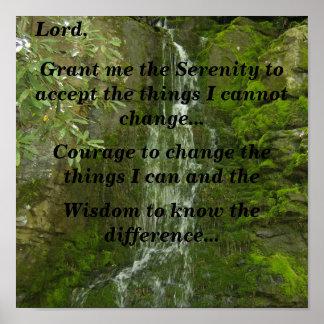 Serenity Prayer (cliff waterfall) Poster