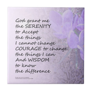 Serenity Prayer Crocus Small Square Tile