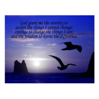 serenity prayer double bird blues postcard