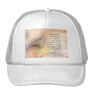 Serenity Prayer Dove and Flowers Cap