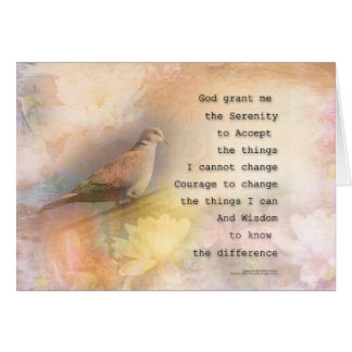 Serenity Prayer Dove and Flowers Card