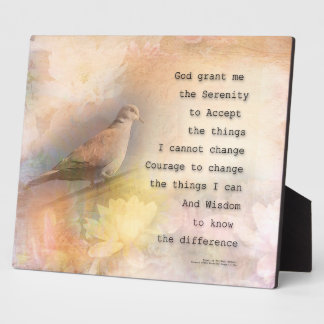 Serenity Prayer Dove and Flowers Display Plaque