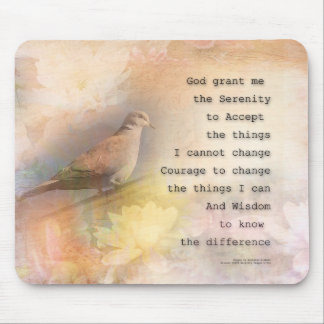 Serenity Prayer Dove and Flowers Mouse Pad