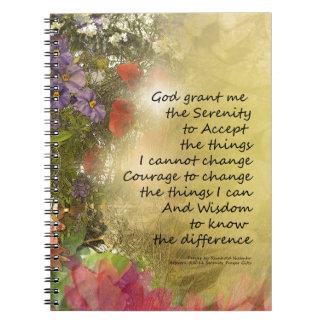 Serenity Prayer Floral Collage Spiral Notebook