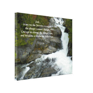 Serenity Prayer Forest Waterfall Canvas Print