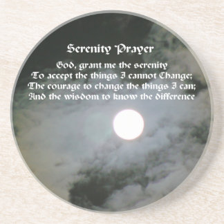 Serenity Prayer Full Moon Inspirational Coaster