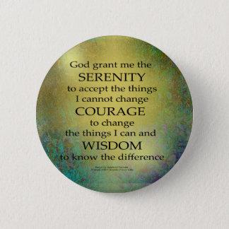 Serenity Prayer Gold on Blue-Green 6 Cm Round Badge