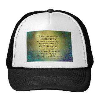 Serenity Prayer Gold on Blue-Green Cap