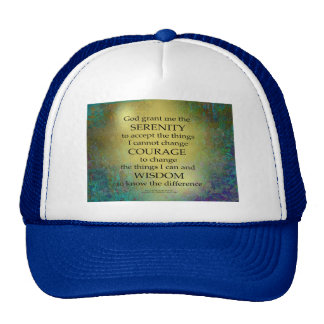 Serenity Prayer Gold on Blue-Green Cap