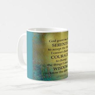 Serenity Prayer Gold on Blue-Green Coffee Mug