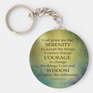 Serenity Prayer Gold on Blue-Green Key Ring