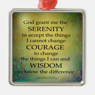 Serenity Prayer Gold on Blue-Green Metal Ornament